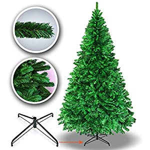 BenefitUSA New 5' 6' 7' 7.5' Green Classic Pine Christmas Tree Artificial Realistic Natural Branches-Unlit with Metal Stand (7.5' Green) 7