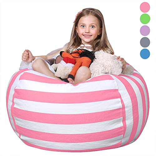 WEKAPO Stuffed Animal Storage Bean Bag Chair Cover for Kids | Stuffable Zipper Beanbag for Organizing Children Plush Toys | 38