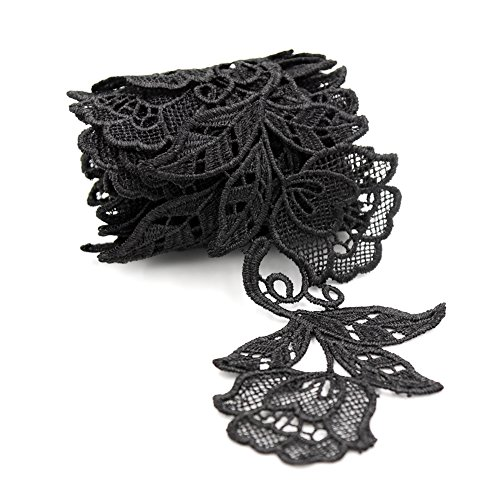 Crochet Ribbon Floral Applique - Floral Motifs Boho Black Lace Applique Trim Sequins Flower Embroidery Applique Sewing Craft,2 Yards