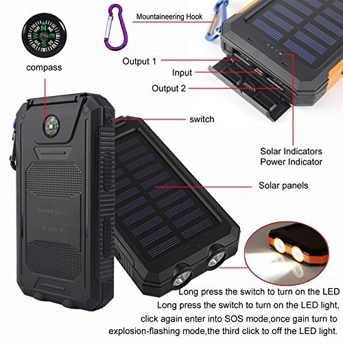 50000mah Solar electricity Bank 2 LED 2 USB Battery Charger Waterproof Black Black Solar Chargers