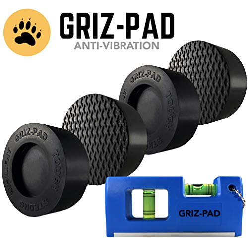 GRIZ-PAD Washer and Dryer Anti-Vibration and Anti-Walk Pads | Premium Set of 4 Noise Reduction Pads Universal Fit | Magnetic Level and Free Maintenance Booklet Bundle
