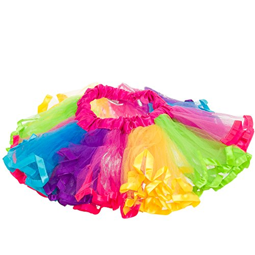 Pop Dance Costume (Silverhooks Girls 4-Layer Multicolor Rainbow Dance Tutu (Fuchsia Rainbow, Medium))