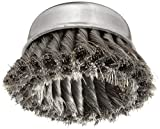 Weiler Wire Cup Brush, Threaded Hole, Steel, Partial Twist Knotted, Double Row, 4'' Diameter, 0.014'' Wire Diameter, 5/8''-11 Arbor, 1-1/4'' Bristle Length, 9000 rpm (Pack of 1)