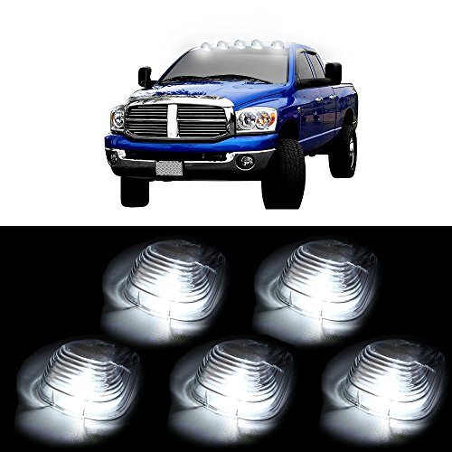 (Cab Roof Marker Light Top Roof Running Marker Light 5 Pack White 6 LED Lights Smoke Lens Marker Running Lamps Replacement fit for Truck RV 4X4)
