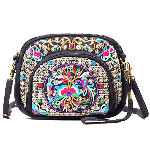 - Mazexy Handmade Embroidered Shoulder Bag Cross-body Bag Vintage Ethnic Flower (Hangbag Flower Red)