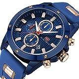 MINI FOCUS Men Business Watch Quartz Chronograph Waterproof Watches Blue Silicon Band Strap Fashion Wristwatch for Men Gift