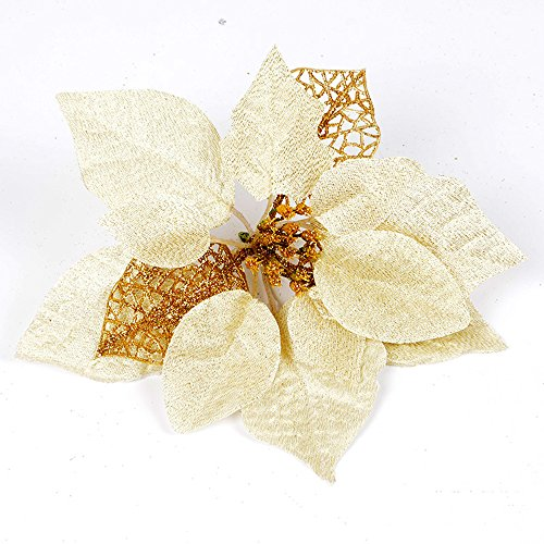 Wedding Flowers Christmas - Pack of 12 Glitter Artificial Wedding Christmas Flowers Glitter Poinsettia Christmas Tree Ornaments (Gold)