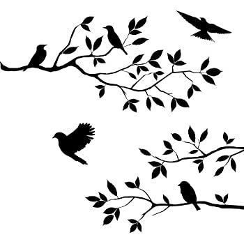 Amazoncom Flock Of Birds Wall Decal Sticker Home Kitchen - Window decals for bird protection
