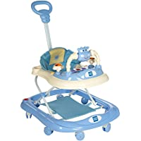 Mee Mee Baby Walker with Adjustable Height and Push Handle Bar (Blue)