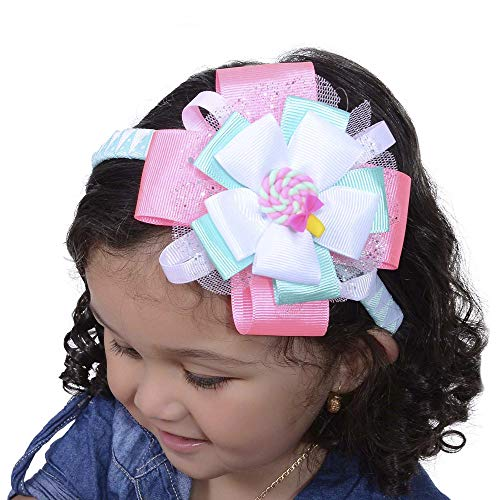 Girls Headbands | Flower Candy Charm Design Handmade | Pine & White | For Toddlers, Kids | Hairband Accessories | One Size Fits All