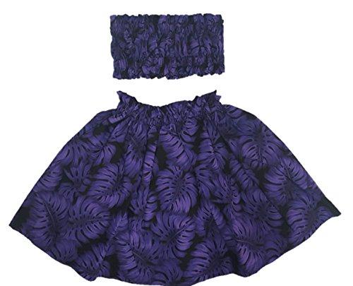 [Hula Girl Outfit Costume Hawaiian Polynesian Print (4T-5T, Purple Leaf)] (Hawaiian Hula Outfits)