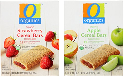 Organic Cereal Bar Snacks for Toddlers Variety Bundle from O Organics: (1) Strawberry Cereal Bars 5.36oz and (1) Apple Cereal Bars 5.36oz (2 Pack Total)