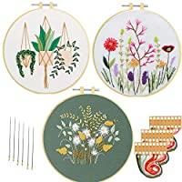Embroidery Starter Kit Cross Stitch Kits with Pattern, Nuberlic 3 Pack Embroidery Kit for Adults Beginners Stamped Embroidery Fabric Hoops Threads Needles Craft Project