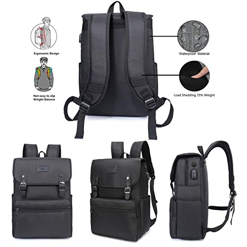 Laptop Backpack Men Women Business Travel Computer Backpack School College Bookbag Stylish Water Resistant Vintage Backpack with USB Port Fashion Black Fits 15.6 Inch Laptop and Notebook by HFSX (Image #3)