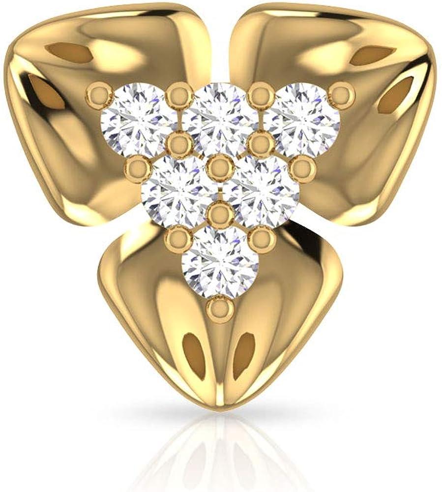 Pendientes de diamante con certificado IGI de 0,36 quilates, diseño de flor de pétalos de oro sólido de 14 quilates, pendientes antiguos regalos, tornillo hacia atrás