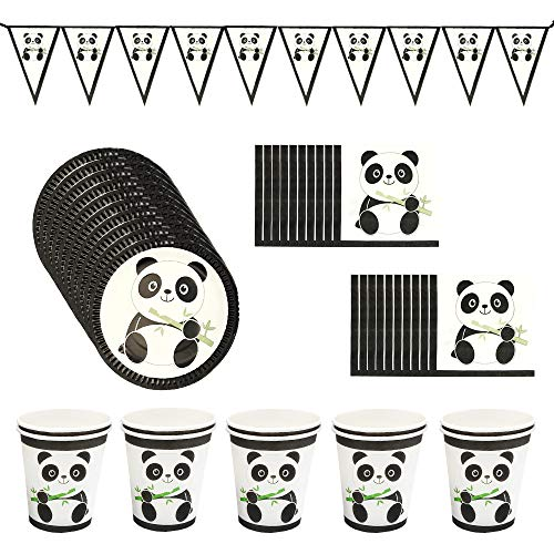 Panda Party Supplies Set, Birthday Decorations Tableware for Kids(Including Plates, Napkins, Cups)