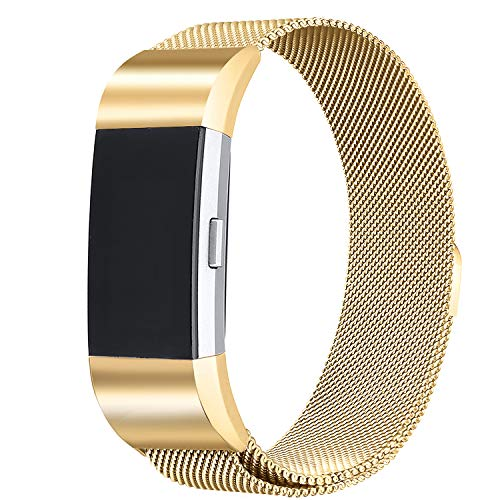bayite Milanese Loop Bands Compatible Fitbit Charge 2, Stainless Steel Magnet Lock Metal, Gold Small ()