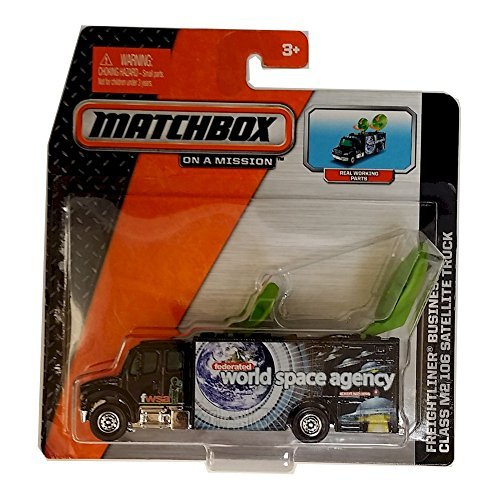 - Matchbox N3242-W6883 Freightliner Business Class M2 106 Satellite Truck, Recommended Age Range 3+, 1:64 Scale, Satellite Dishes Raise and Rotate, Truck Bears the Logo of the World Space Agency