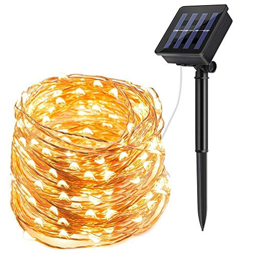 ECOWHO Solar String Lights Outdoor, 72ft 200 LED Solar Powered Fairy Lights Waterproof Decorative Lighting for Patio Garden Yard Party Wedding (Warm White) (Outdoor Light Strings Solar)