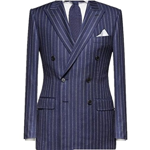 ANY Mens' Suit 2-piece Double Breasted 4 Buttons Silm Fit Wool Pin Stripe Tuxedo (XL, royal blue)