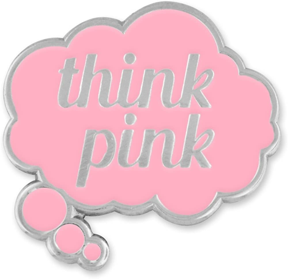 PinMart Think Pink Word Bubble Breast Cancer Awareness Enamel Lapel Pin