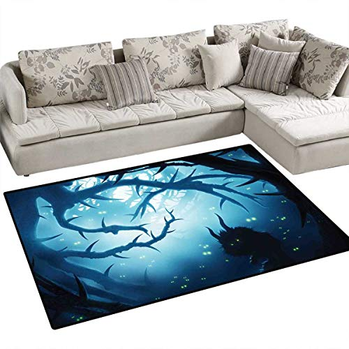 Mystic Decor Anti-Skid Rugs Animal with Burning Eyes in Dark Forest at Night Horror Halloween Illustration Girls Rooms Kids Rooms Nursery Decor Mats 3'x5' Navy White