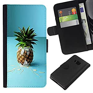 KingStore / Leather Etui en cuir / HTC One M9 / Pi?a de la fruta macro Cóctel