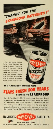 1944 Ad Ray-O-Vac Flashlight Battery World War II Fighter Pilot Crash Sea Float - Original Print - Ad Ray