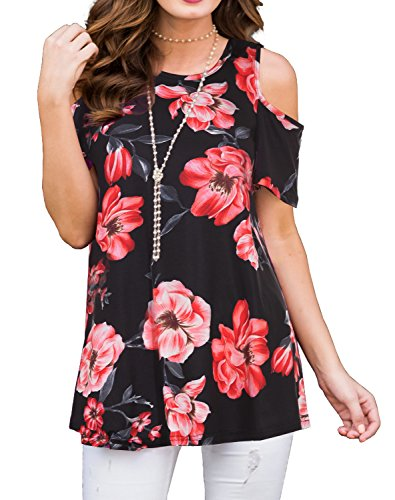 PrinStory Women's Short Sleeve Casual Cold Shoulder Tunic Tops Loose Blouse Shirts Floral Print Red Flower Black S