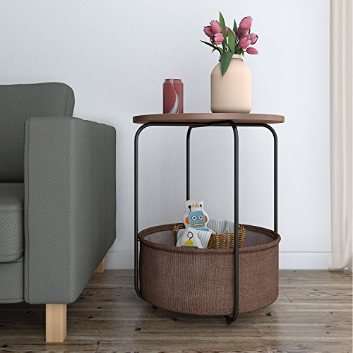 Lifewit Round Side Table End Table Nightstand with Storage Basket, Modern Collection Espresso, 18.9 × 18.9 × 23.6 ()