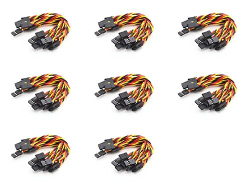8 x Quantity of Walkera Tali H500 Twisted 10 x 10CM Male to Male Servo Lead (JR) 22AWG Receiver Wire (Servo Connector)