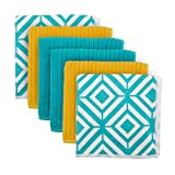 """DII Microfiber Multi-Purpose Cleaning Cloths Perfect for Kitchens, Dishes, Car, Dusting, Drying Rags, 12 x 12"""", Set of 6 - Teal Diamond"""