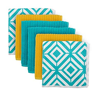 DII Cleaning, Washing, Drying, Ultra Absorbent, Diamond Microfiber Dishcloth, 16x19  (Set of 6) - Teal
