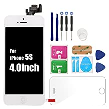 HJR For iPhone5 Black LCD Display Screen Accessories Full Assembly with Home Button Proximity Sensor Ear Speaker Front Camera+Screen Protector Repair Tools (For iPhone5 Black)