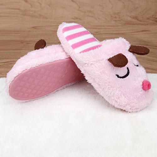 Indoor Slip Plush Slippers Couple Cotton Women 7 TM Home Soft Warm Pink Anti Men Elevin Shoes House qxvOXwUYxz