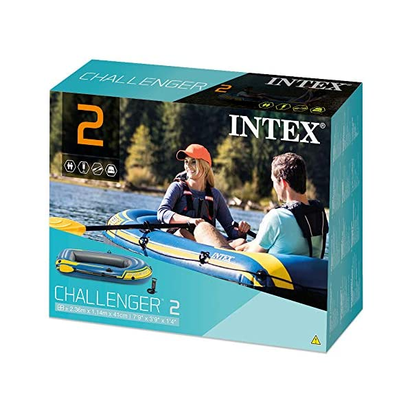 51nMOgag qL Intex Challenger 2 Set Schlauchboot - 236 x 114 x 41 cm - 3-teilig - Blau / Gelb