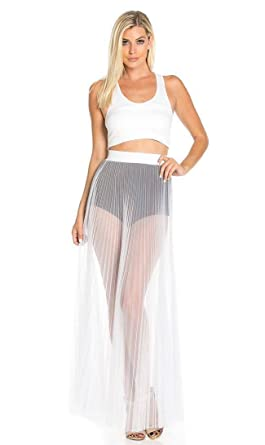 e15c3b1a4c115 Pleated High Waisted Sheer Maxi Skirt in White at Amazon Women's ...