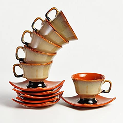 Cultural Concepts Brown Studio Prince Cup And Saucer - Set Of 6 Cups And 6 Saucers