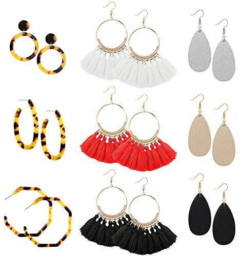 FIBO STEEL 9 Pairs Acrylic Dangle Earring for Women Tassel Thread Earrings Leather Teardrop Drop Earring Set for Women Girls Statement Fashion Jewelry ()