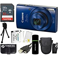 Canon PowerShot ELPH 190 IS 20.2MP 10x Zoom Wi-Fi Digital Camera (Blue) + SanDisk 32GB Card + Reader + Spare Battery + Case + Accessory Bundle