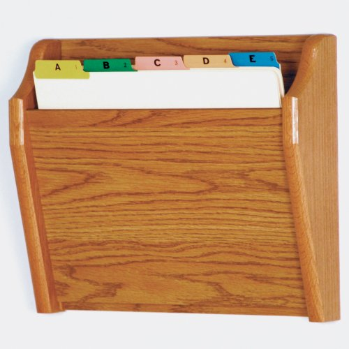 DMD Tapered Letter Size Wood Chart or File Holder, Single Pocket, Wall Mounted, Medium Oak Finish