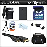 32GB Accessories Kit For Olympus E-PL5 Interchangeable Lens Digital Camera Includes 32GB High Speed SD Memory Card + Extended Replacement (1400 maH) BLS-5 Battery + AC/DC Travel Charger + Mini HDMI Cable + USB 2.0 Reader + Case + Screen Protectors + More