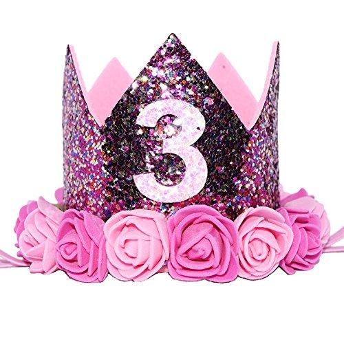(Glitter 1/2 1st Birthday Princess Flower Crown Tiara Cake Smash Photo Prop (Purple Flower)