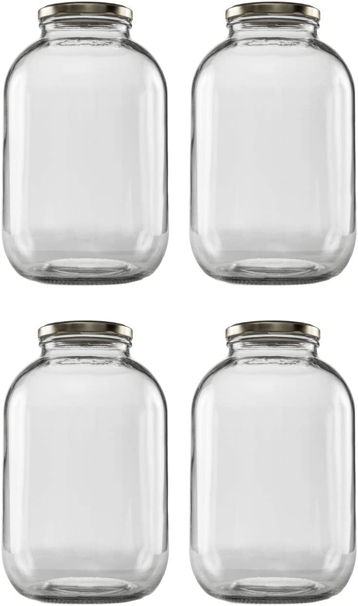 Clearview Container jarra de cristal de boca ancha tarro con tapa de oro poste de metal tapa/Fermento & Store preparar té o Kefir/uso para conservas, almacenamiento, decapado y preservar apta para lavavajillas,