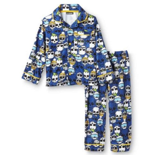 Joe Boxer Toddler Boys Blue Flannel Sleepwear Set Skull Pajamas PJs 4T Boys Sleep Boxers