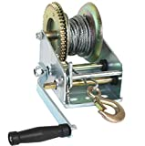 Car Hand Winch Boat Dual Gear Crank Manual ATV RV Trailer 33Ft Cable Heavy Gauge Plated Steel Frame 3500 Pound Load Capacity - Skroutz