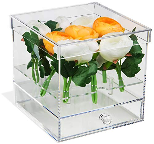 Deluxe Clear Acrylic Flower Display Case with Drawer for Wedding and Home (A053-A-FL)