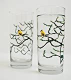 Cheap Yellow Finch Glassware – Set of 2 Everyday Drinking Glasses, Golden Finch Glasses, Mother's Day Gift