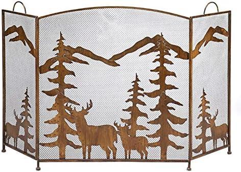 暖炉スクリーン MYL 素朴な森のハンドル付き折りたたみメッシュ暖炉スクリーン、3-パネル錬鉄火画面メタル暖炉立ち門 (Color : Rust color)