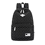 ABC® Fashion Polka Dot Canvas Backpack (Black)